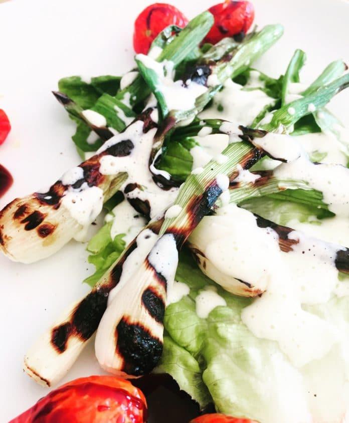 Frühlingszwiebeln mit Parmesanschaum ist ein leckeres Beilagengericht zu Grillfleisch und Gemüse. Es ist schnell gemacht und besticht durch den Parmesan.